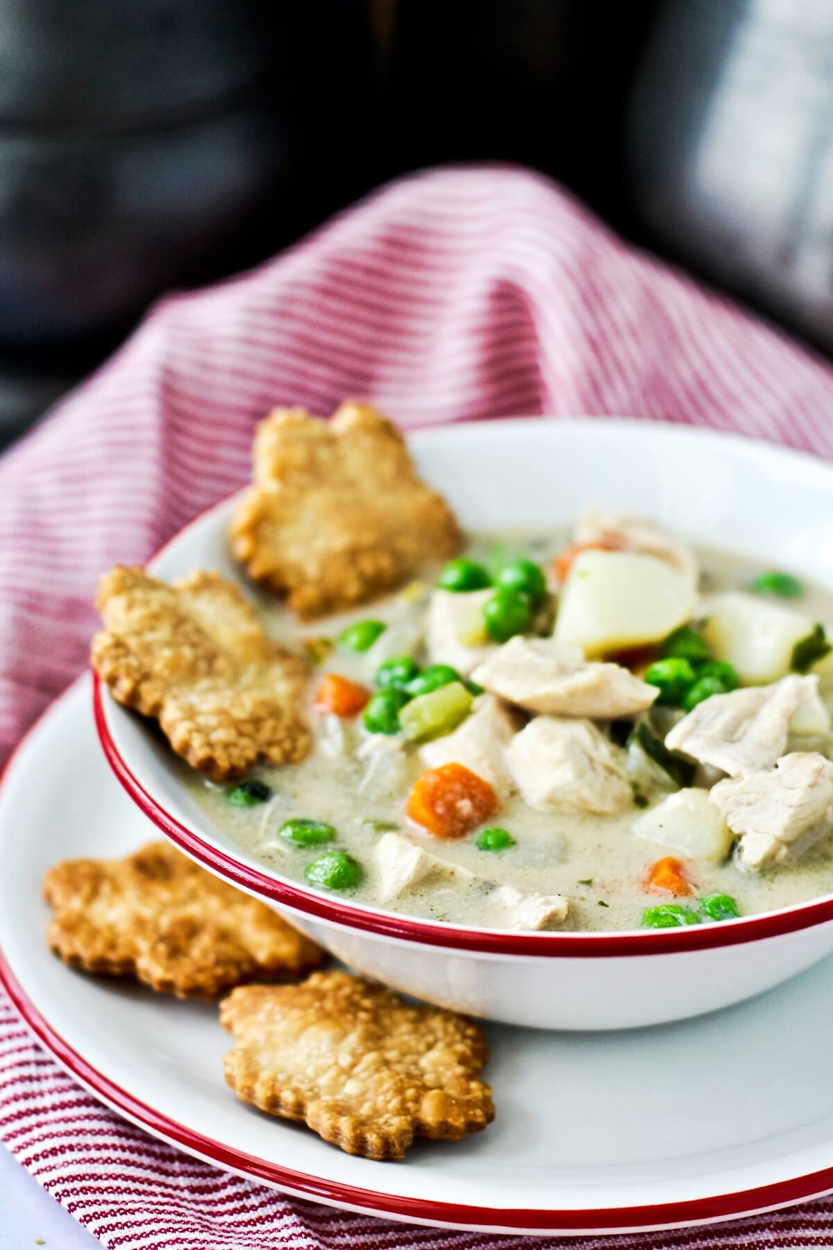 Bowl of chicken pot pie soup.