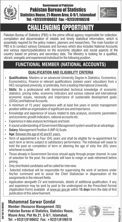 Functional Member (National Accounts) Jobs 2019 For Pakistan Bureau of Statistics