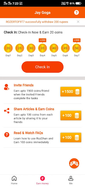 how to earn money in rozdhan app