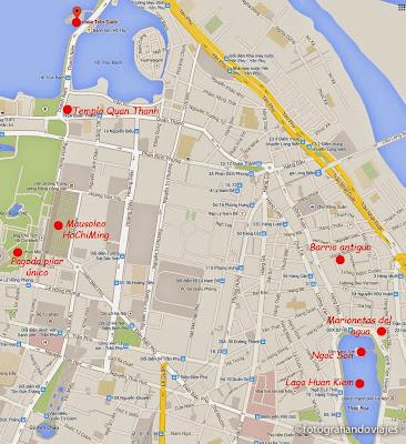 Mapa sitios interesantes de Hanoi