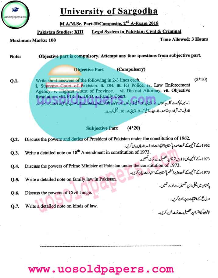 MA Pakistan Studies, Part-II / Composite, Second Annual Examination 2018 University of Sargodha Past Papers   Paper-VI: Ancient Civilization Indus Valley and Gandhara  Paper-VII: Political Parties in Pakistan  Paper-VIII: Pakistan and the Current Affairs  Paper-IX : Local Self Government in Pakistan  Paper-X: Human Rights in Pakistan  Paper-XI: Military Role in Pakistan  Paper-XII: Mass Media and Communication in Pakistan  Paper-XIII: The Problems of Population of Pakistan  Paper-XIV: The Problems and Politics of Federalism in Pakistan        Download Links:  Second Annual 2018  First Annual 2017  First Annual 2016  First Annual 2015  First Annual 2014  First Annual 2013  Second Annual 2013