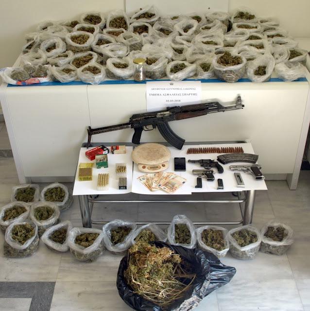 Συνελήφθη 63χρονος για ναρκωτικά και για όπλα στη Λακωνία