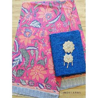 Kain batik 3negri pink mix embos