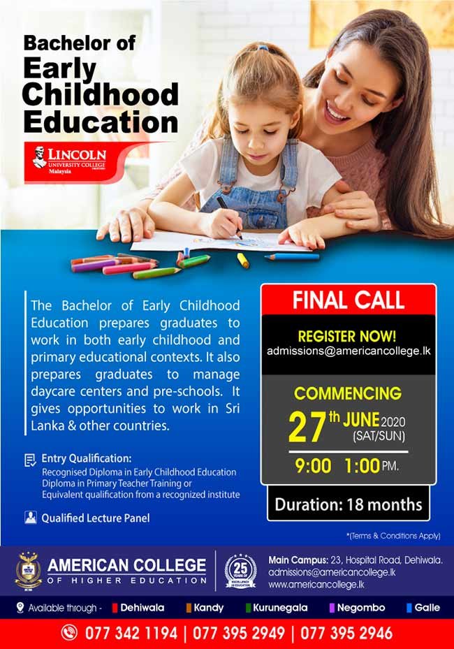 Bachelor of Early Childhood Education.