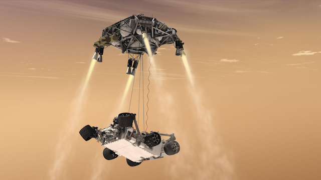 NASA's sky crane in operation lowering the Mars Rover Perseverance.
