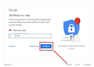 Masukan kode verifikasi gmail