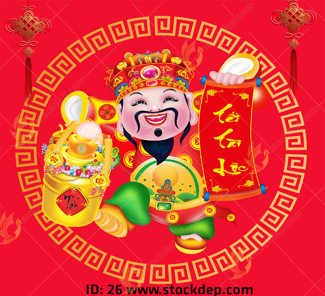 Chinese god of prosperity design holding the gold