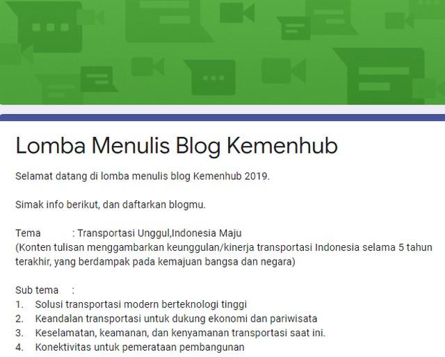 Lomba  Blog Transportasi Unggul - Indonesia Maju