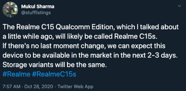 Realme C15s