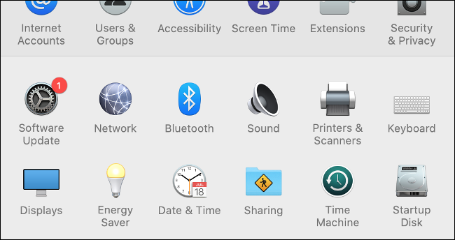 تحديث البرنامج في تفضيلات نظام macOS