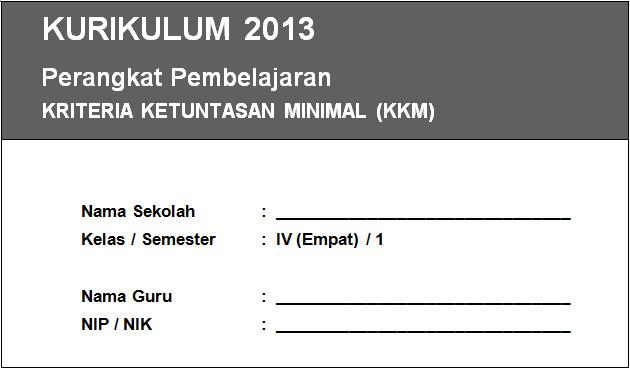 KKM Kurikulum 2013 Kelas 4 SD