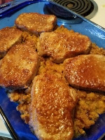Golden Porch Chops over Corn Pudding, a delicious one pan meal.