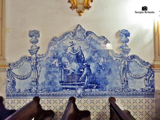Close-up de um painel de azulejos do Convento e Santuário São Francisco - Sé - São Paulo