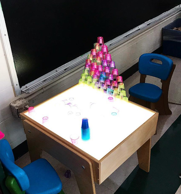 Cup Stacking on Light Table