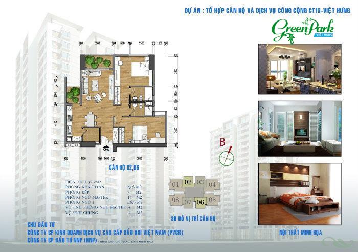 Mặt bằng căn hộ 02, 06 Việt Hưng Green Park
