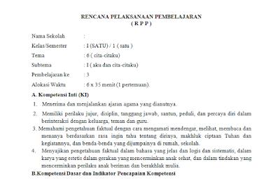 Download RPP Kelas 4 Kurikulum 2013 Tema 6 Cita-citaku Revisi 2017