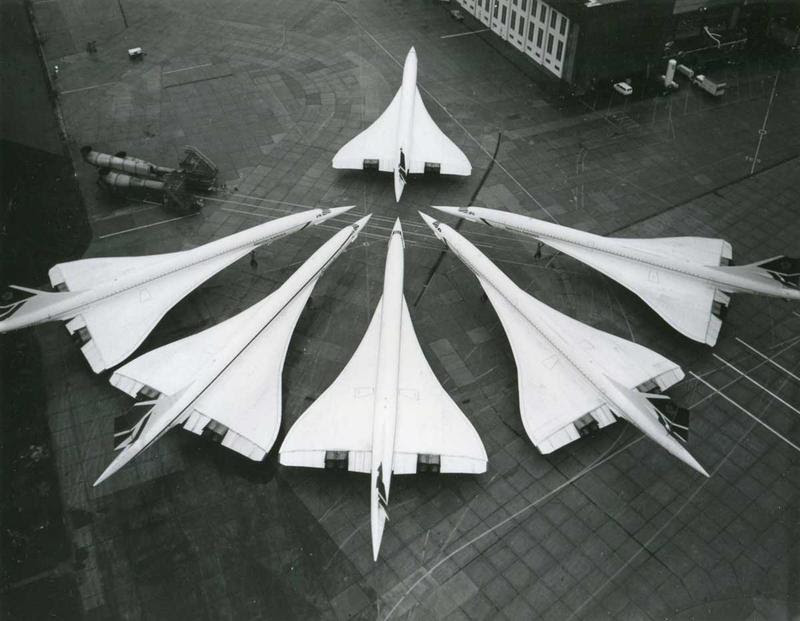 6 of 7 BA's Concorde aircrafts (1986)