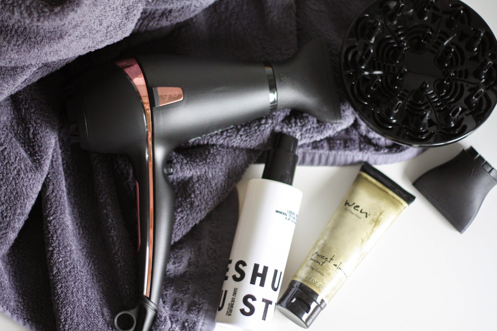 GHD rose gold hair dryer