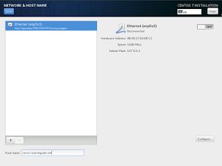 CentOS7 Installation network and hostname Screenshot