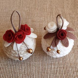 palline natale lana e decorazioni pannolenci