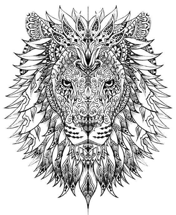 mandala art lion coloring book for grown ups