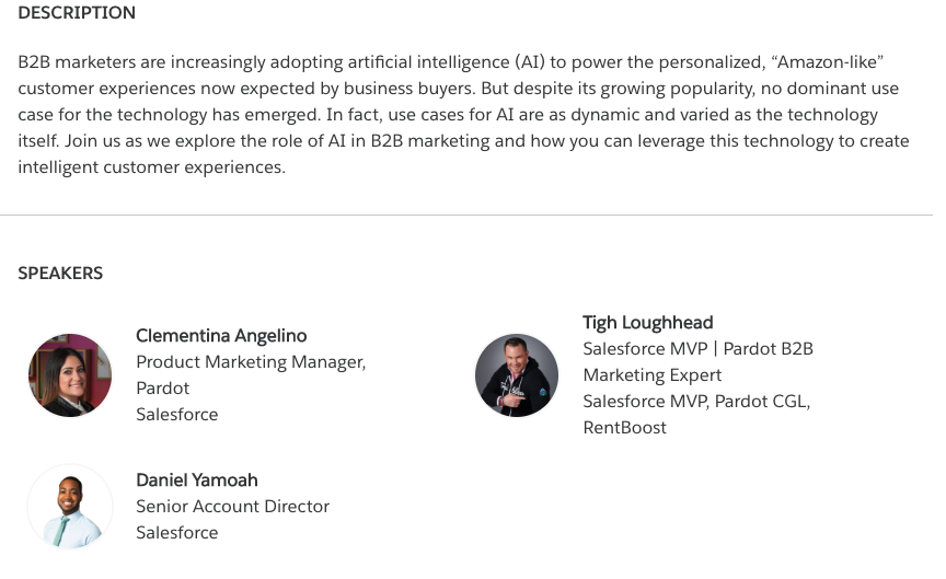 Salesforce MVP Tigh Loughhead speaking at Dreamforce 2020 with  Daniel Yamoah, Clementina Angelino and Denis Hoogweg DF2020