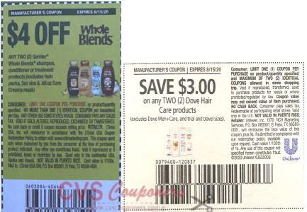 garnier & dove shampoo coupons