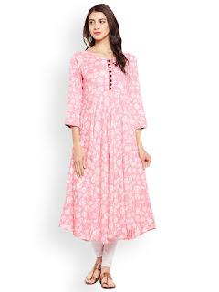 Tissu Women Pink Printed Kurta