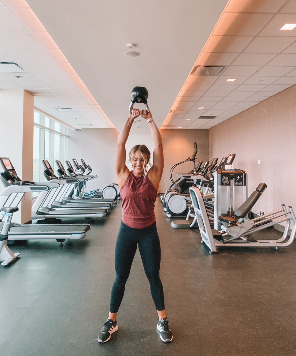OKC influencer Amanda Martin works out at the Omni Oklahoma City's fitness center