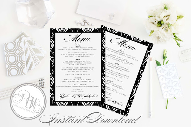 black white art deco menu design by rbhdesignerconcepts