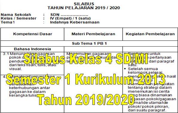 Silabus Kelas 4 SD/MI Semester 1 Kurikulum 2013 Tahun 2019/2020 - Guru Krebet 3