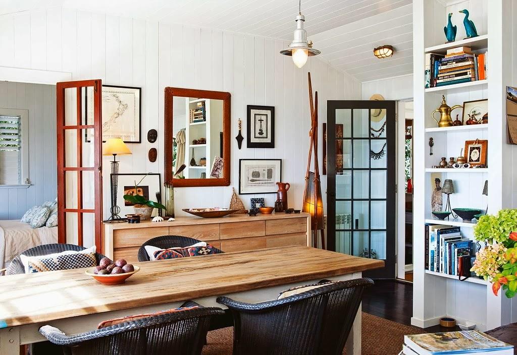 Domek przy plaży w Nowej Zelandii, wystrój wnętrz, wnętrza, urządzanie domu, dekoracje wnętrz, aranżacja wnętrz, inspiracje wnętrz,interior design , dom i wnętrze, aranżacja mieszkania, modne wnętrza, domek wakacyjny, jadalnia