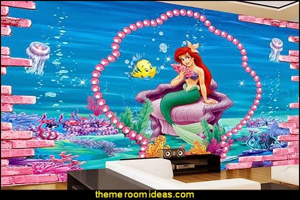 undersea mermaid 3D wall sticker - mermaid wall mural - ariel wall murals
