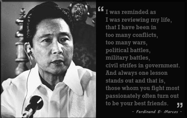 Ferdinand Edralin Marcos adalah presiden ke-10 Filipina dan merupakan presiden pertama yang terpilih menjabat selama dua periode berturut-turut. Ia mengawali karirnya sebagai presiden Filipina yaitu pada 30 Desember 1965, kemudian terpilih kembal pada pemilihan umum 1969.