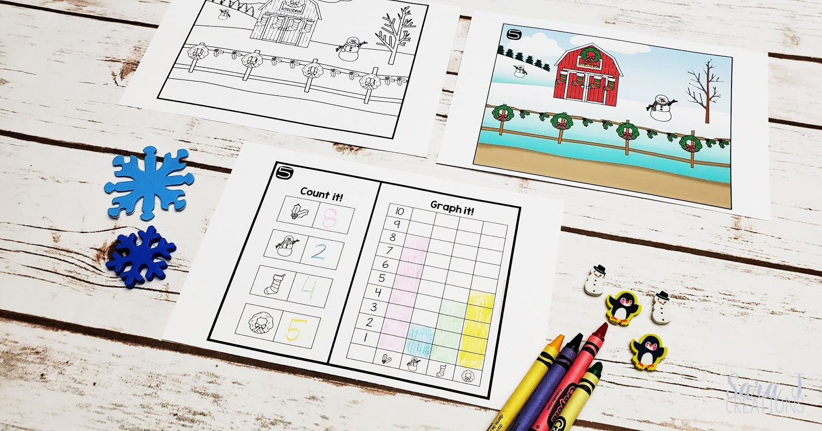 Free printable Christmas count and graph worksheets. Perfect for preschool, kindergarten, or first grade. Use the picture to create a simple bar graph.