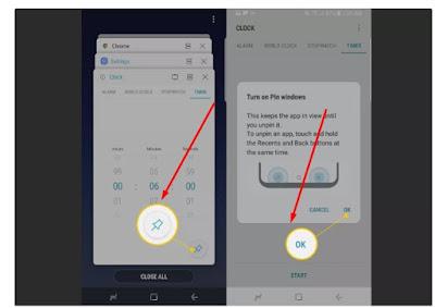 Ikon pin dan tombol OK di Android