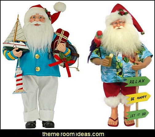 Coastal Santa Claus Christmas Figurines  Coastal Christmas decorating theme - coastal Christmas decor - beach christmas  - Beach Christmas Decorations  - seaside decor - coastal ornaments - beach themed Christmas decorations - beach themed christmas tree -  sea themed ornaments -  nautical accents - beach themed ornaments - coastal Christmas tree skirts - beach & seaside decorations - nauticall Christmas decor
