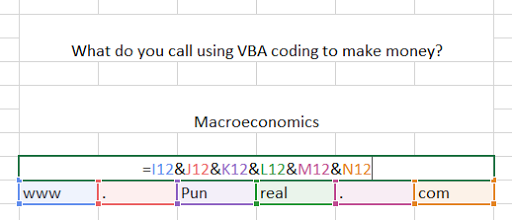 Getting started with a coding pun. VBA is the language you use to code macros in Excel.