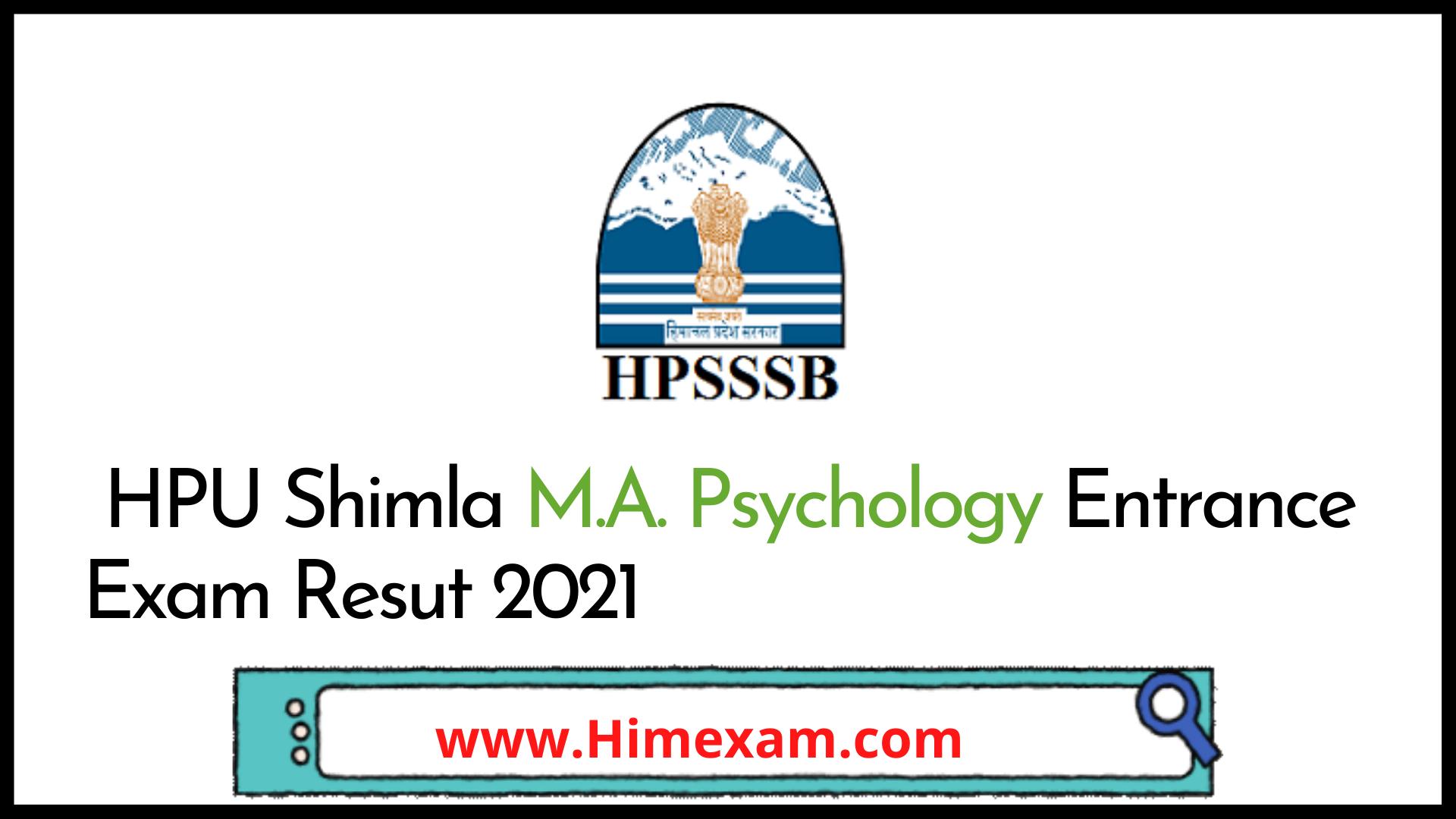 HPU Shimla M.A. Psychology Entrance Exam Resut 2021