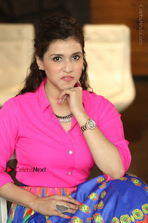 Actress Mannar Chopra in Pink Top and Blue Skirt at Rogue movie Interview  0193.JPG