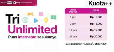 Cara Beli Paket Internet Tri Unlimited