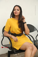 Actress Poojitha Stills in Yellow Short Dress at Darshakudu Movie Teaser Launch .COM 0291.JPG