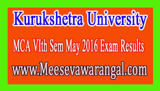 Kurukshetra University MCA VIth Sem May 2016 Exam Results