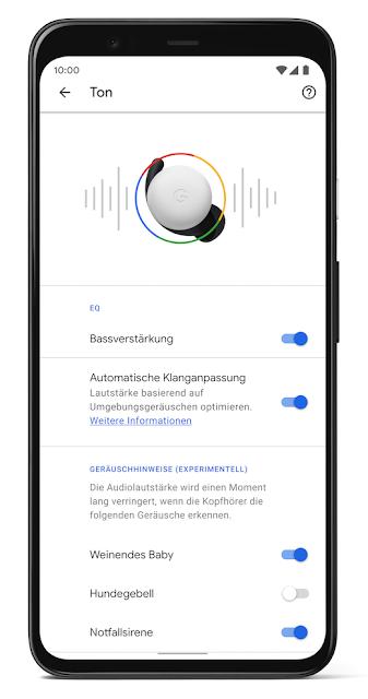 Smartphone mit Anzeige der Einstellungsmöglichkeiten für Pixel Buds