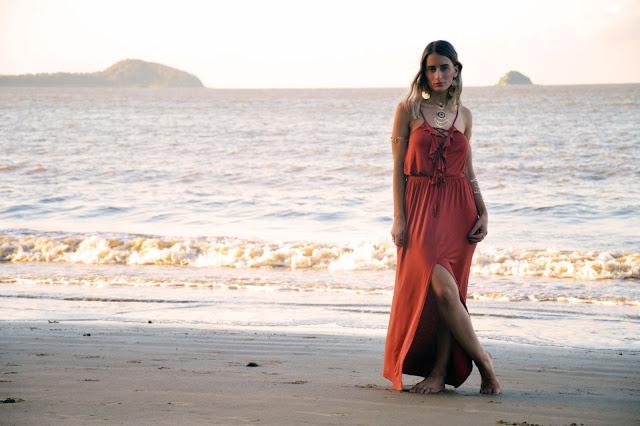 lace up maxi dress beach
