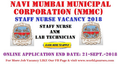 Navi Mumbai Municipal Corporation (NMMC) Staff Nurse, Lab Technician, ANM Vacancy 2018