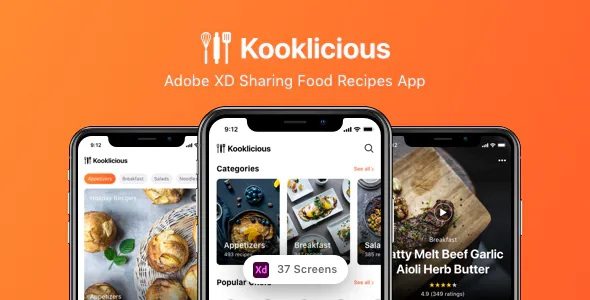 Best Adobe XD Sharing Food Recipes App