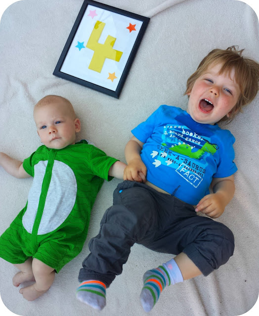 4 month old and 22 month old, brothers, toddler and baby brother