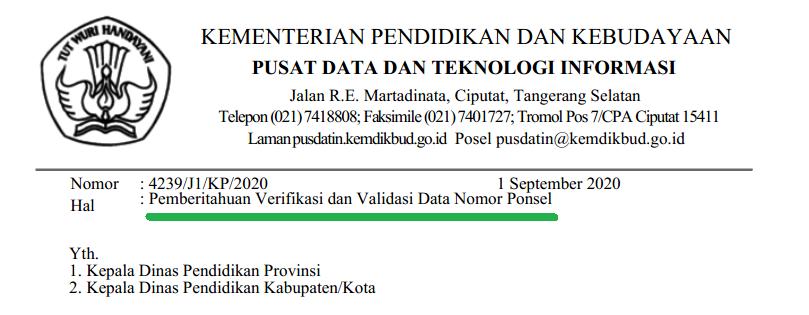 Surat Edaran Nomor 4239/J1/KP/2020 tentang Pemberitahuan Verifikasi Dan Validasi Data Nomor Ponsel