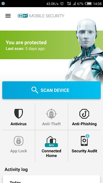tampilan home eset mobile security